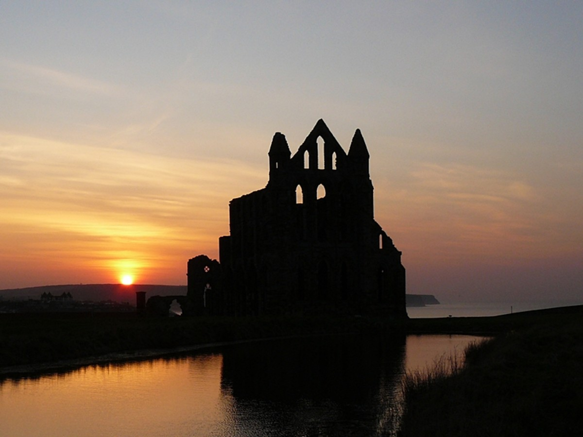 Whitby Abbey at sunset - ideal for vampires (ever read Bram Stoker's book?)