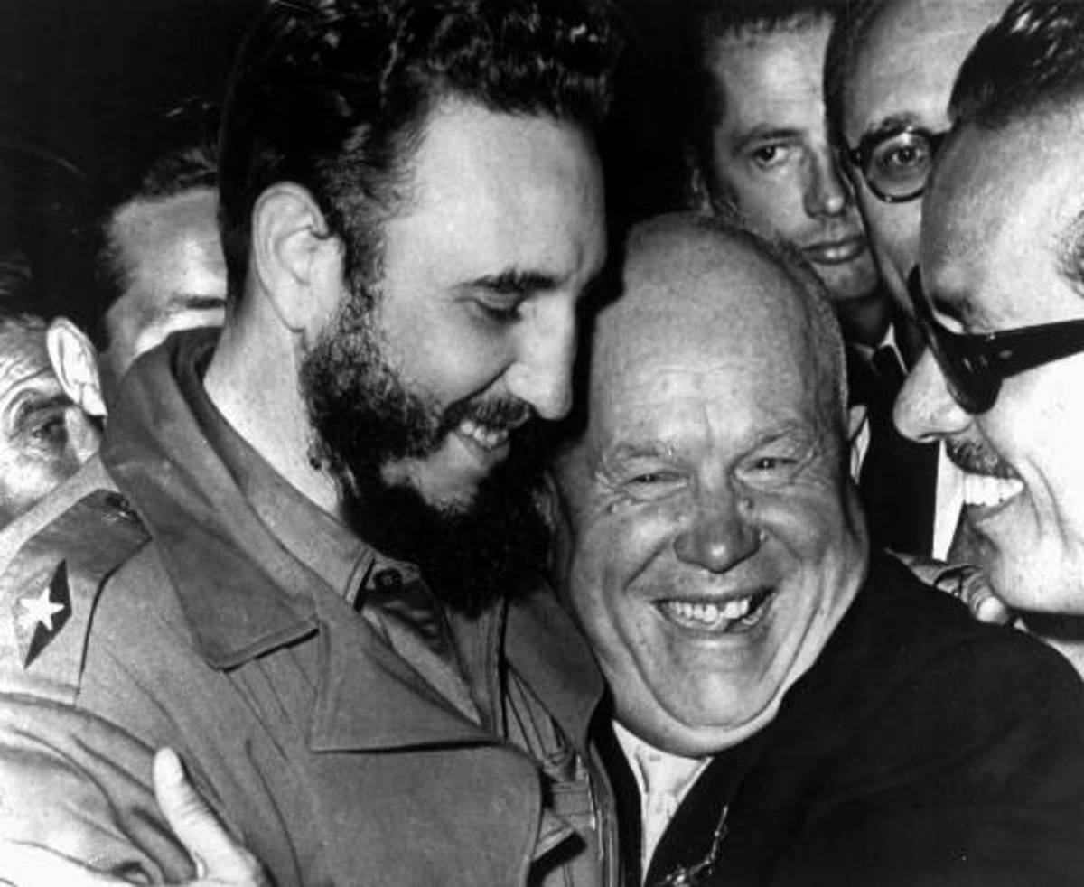 FIDEL CASTRO EMBRACES HIS IDEOLOGICAL BROTHER, NIKITA KHRUSHCHEV, FELLOW SOCIALIST WHO VOWED TO DESTROY THE UNITED STATES OF AMERICA