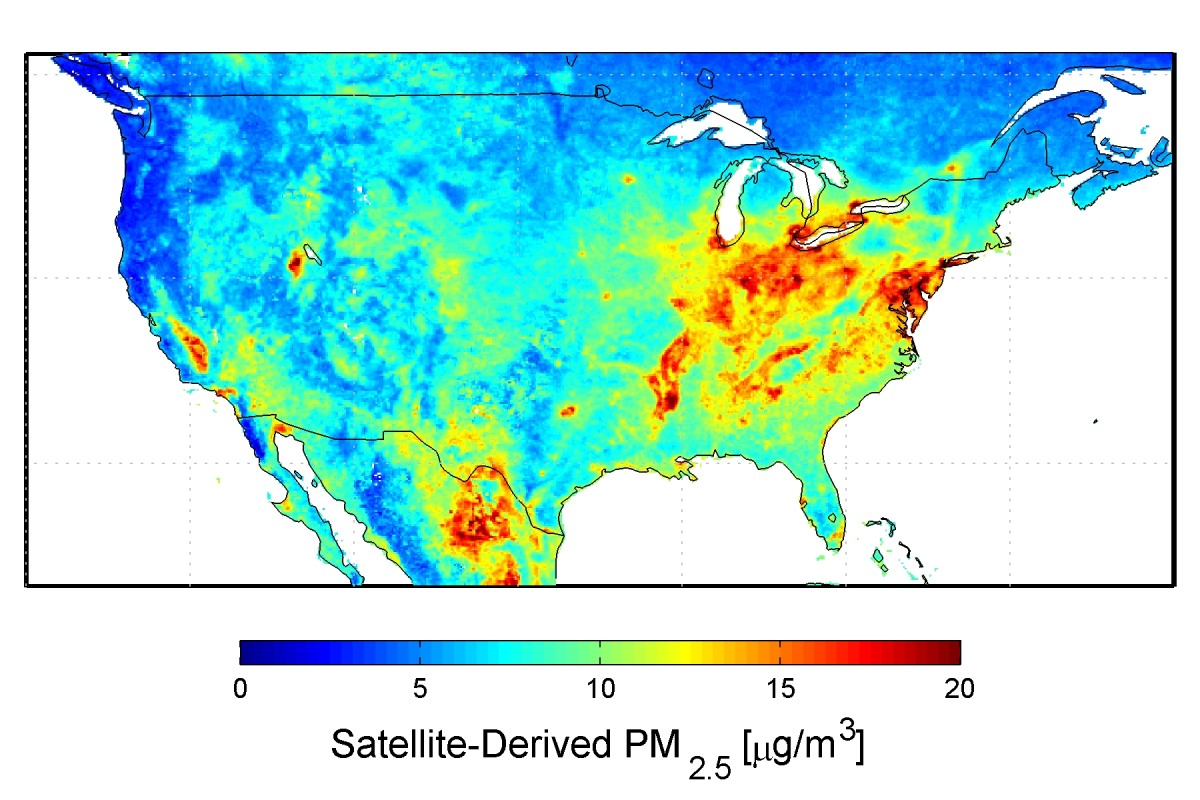 NASA U.S.A. Satellite-Derived Map Of PM2.5 Averaged Over 2001-2006. CREDIT: Dalhousie University, Aaron van Donkelaar