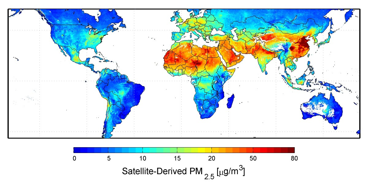 NASA Global Satellite-Derived Map Of PM2.5 Averaged Over 2001-2006 CREDIT: Dalhousie University, Aaron van Donkelaar