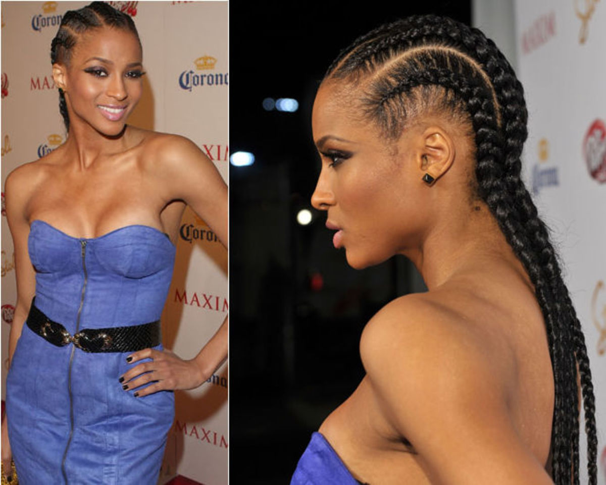 Ciara cornrows hair.