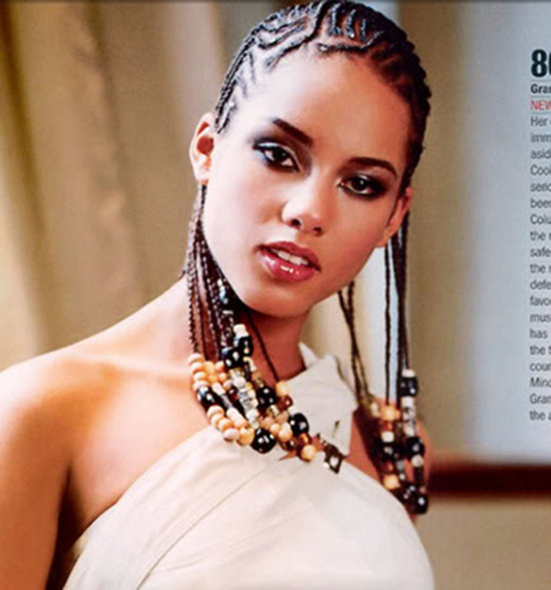 Alicia Keys cornrows hairstyle.
