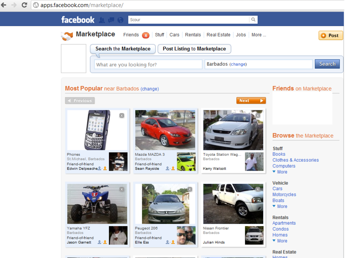 The Facebook Marketplace homepage