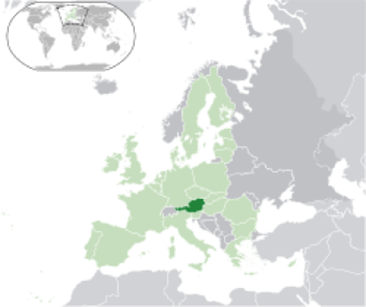 Map showing Austria's location