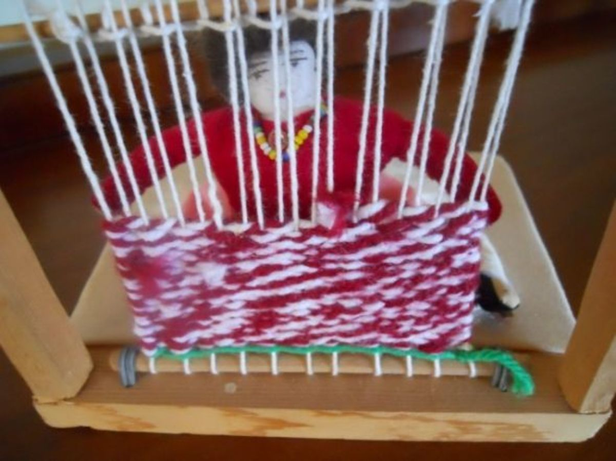 A close up through the loom