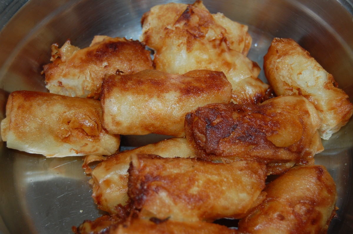They are deep fried in vegetable oil to give a crunchy taste..