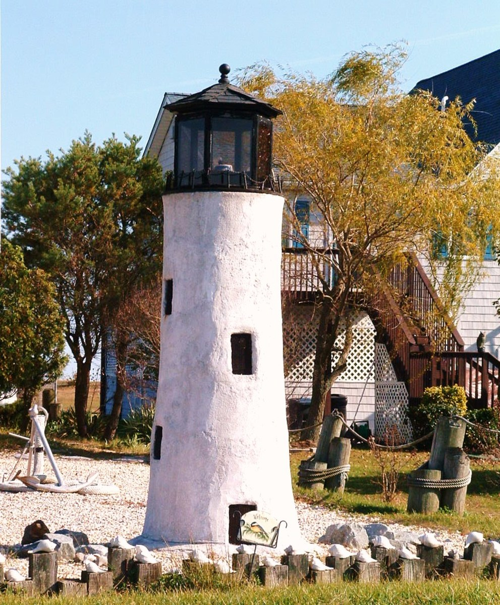This replica lighthouse is in a private yard at Slaughter Beach and is approximately 12 feet tall!