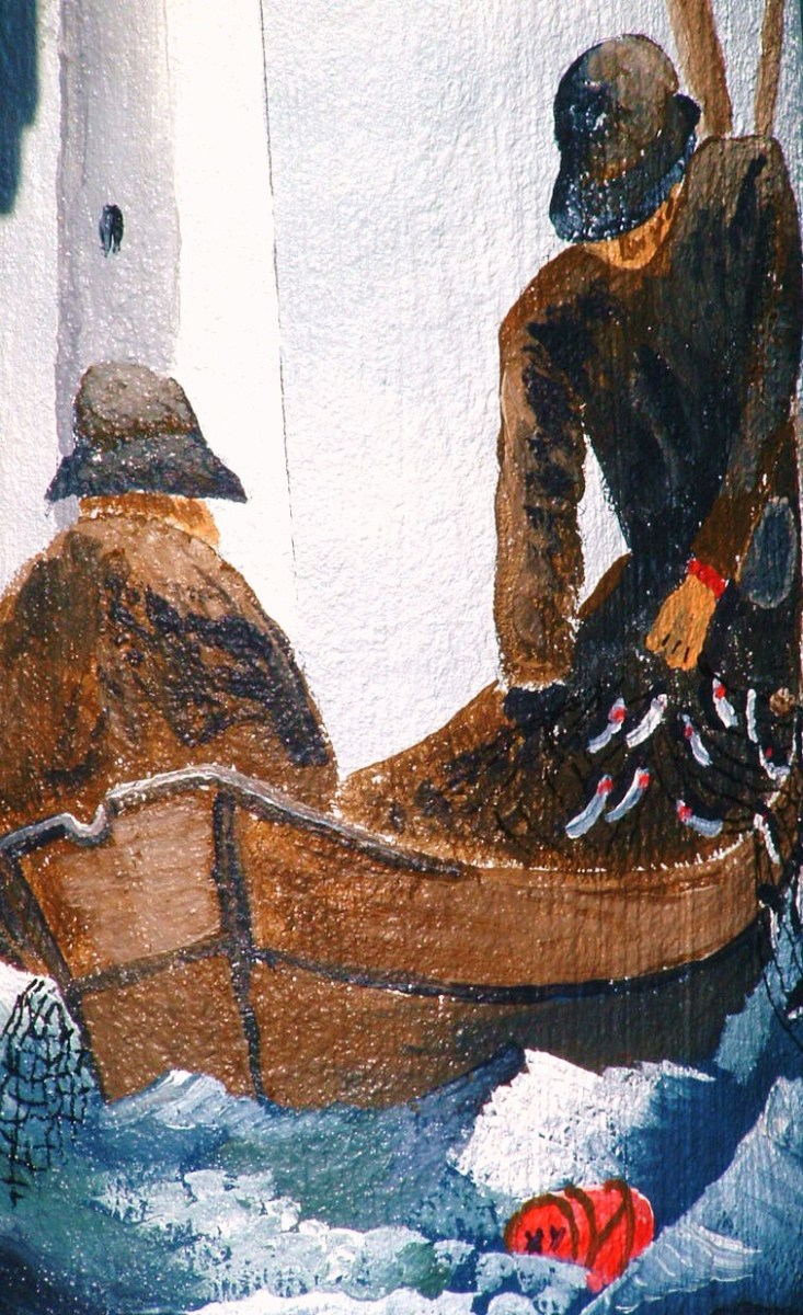 Close up of historical scene depicting fishermen in wooden boat.