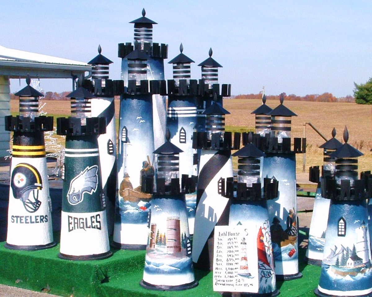 Part of hand painted lighthouse display at L.H. Webb & Sons Market Inc. in Frederica, DE.