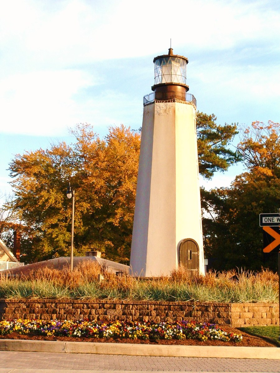 Rehoboth Avenue is the main road into Rehoboth Beach and this Lighthouse sits in the middle of a traffic circle as part of the recent streetscape design.