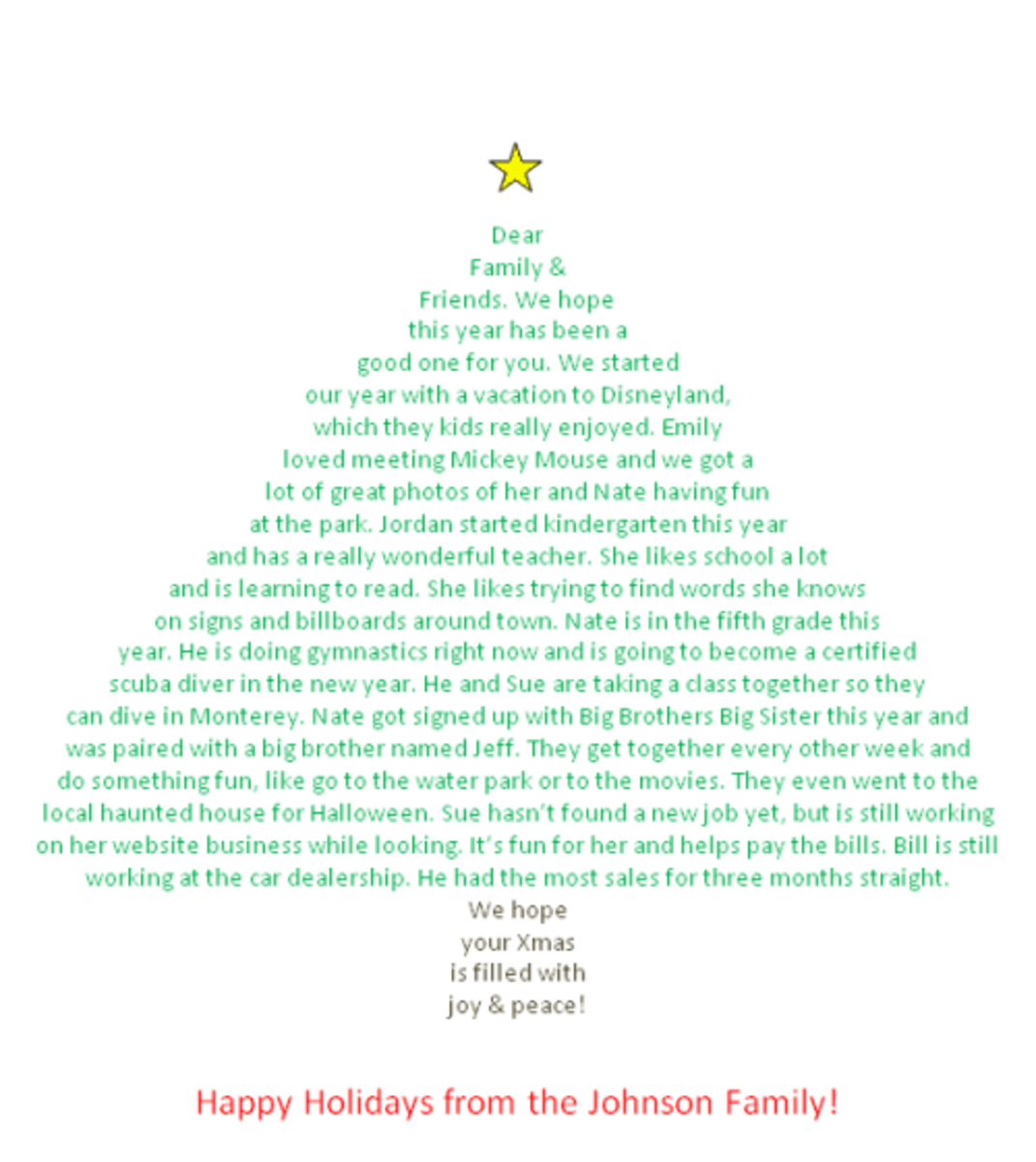 make your christmas letter in the shape of a christmas tree hubpages - Funny Christmas Letters