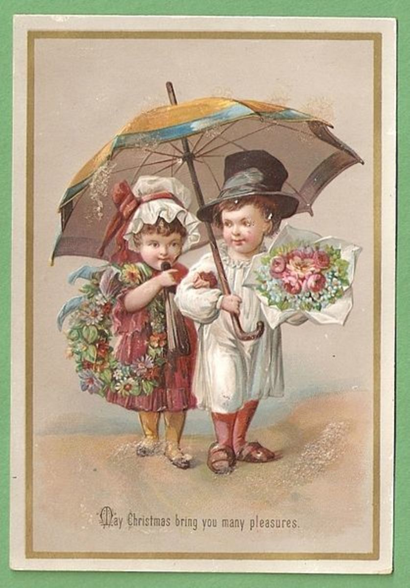 This Victorian Christmas Card from 1885 is in the public domain in the United States because the copyright has expired.