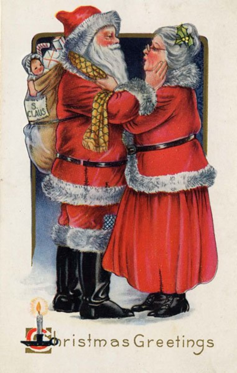 This Christmas postcard of Mr. and Mrs. Santa Claus (circa 1919) is in the public domain in the United States because its copyright has expired.
