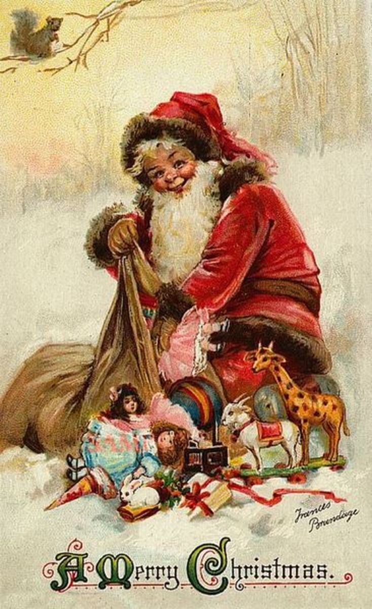 This Christmas card painted by Frances Brundage (1854 to 1937) is in the public domain in the United States because it had a copyright term of life of the author plus 70 years, and the copyright has expired.