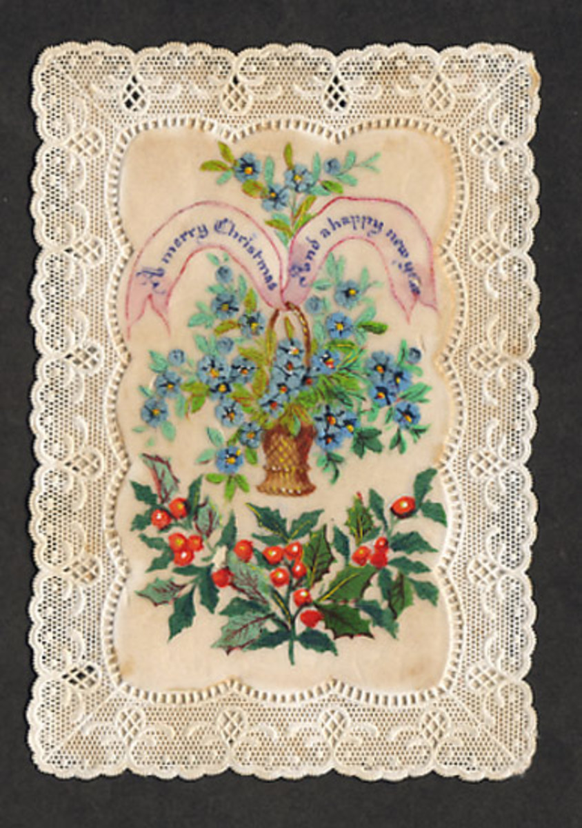 This Victorian Christmas Card from 1870 is in the public domain in the United States because the copyright has expired.