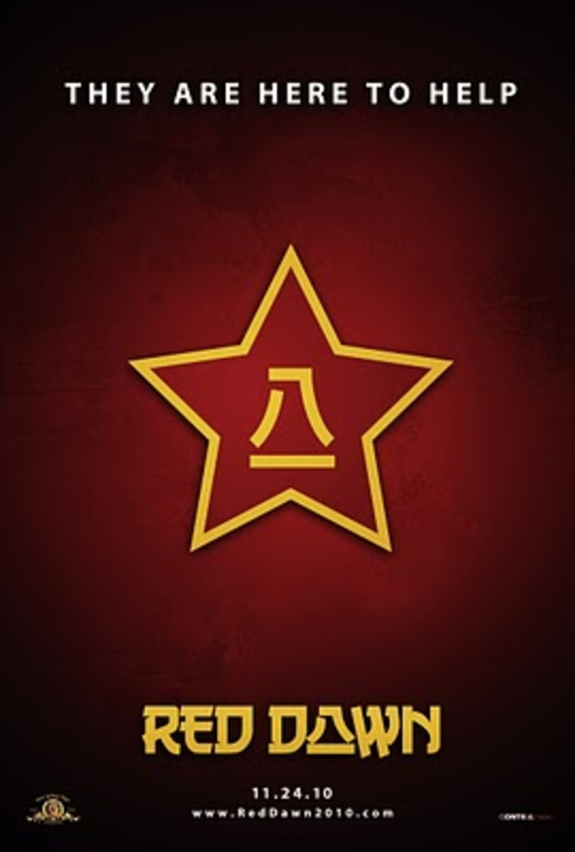 "This teaser poster for the ""Red Dawn"" remake, was released when the bad guys were still Chinese and the film was supposed to be released in 2010."