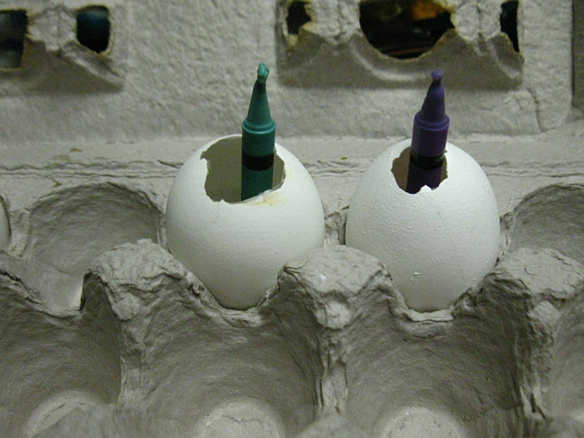 the birthday candles are a bit too tall for the egg shells