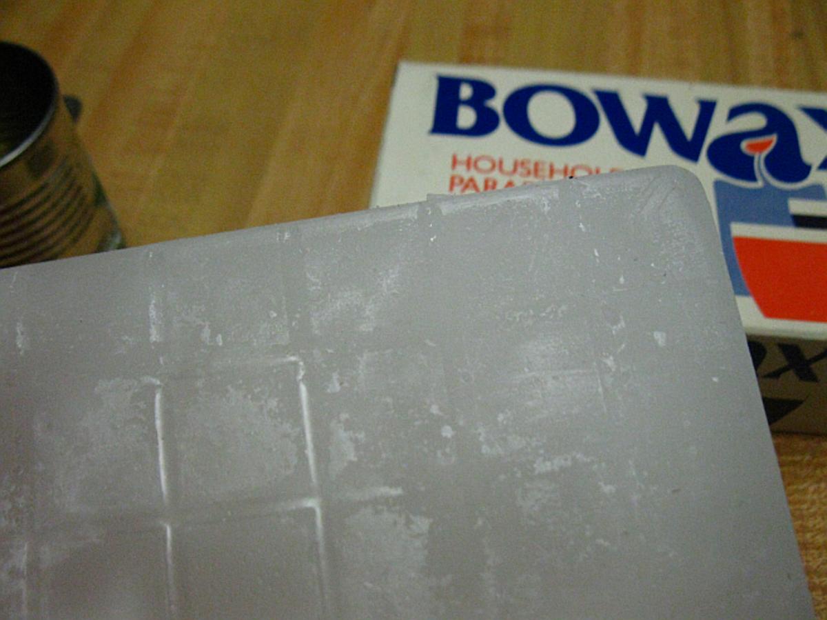 wax- needs to be broken into smaller pieces