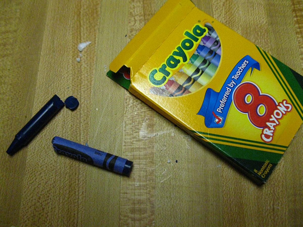 broken wax crayons will color the wax
