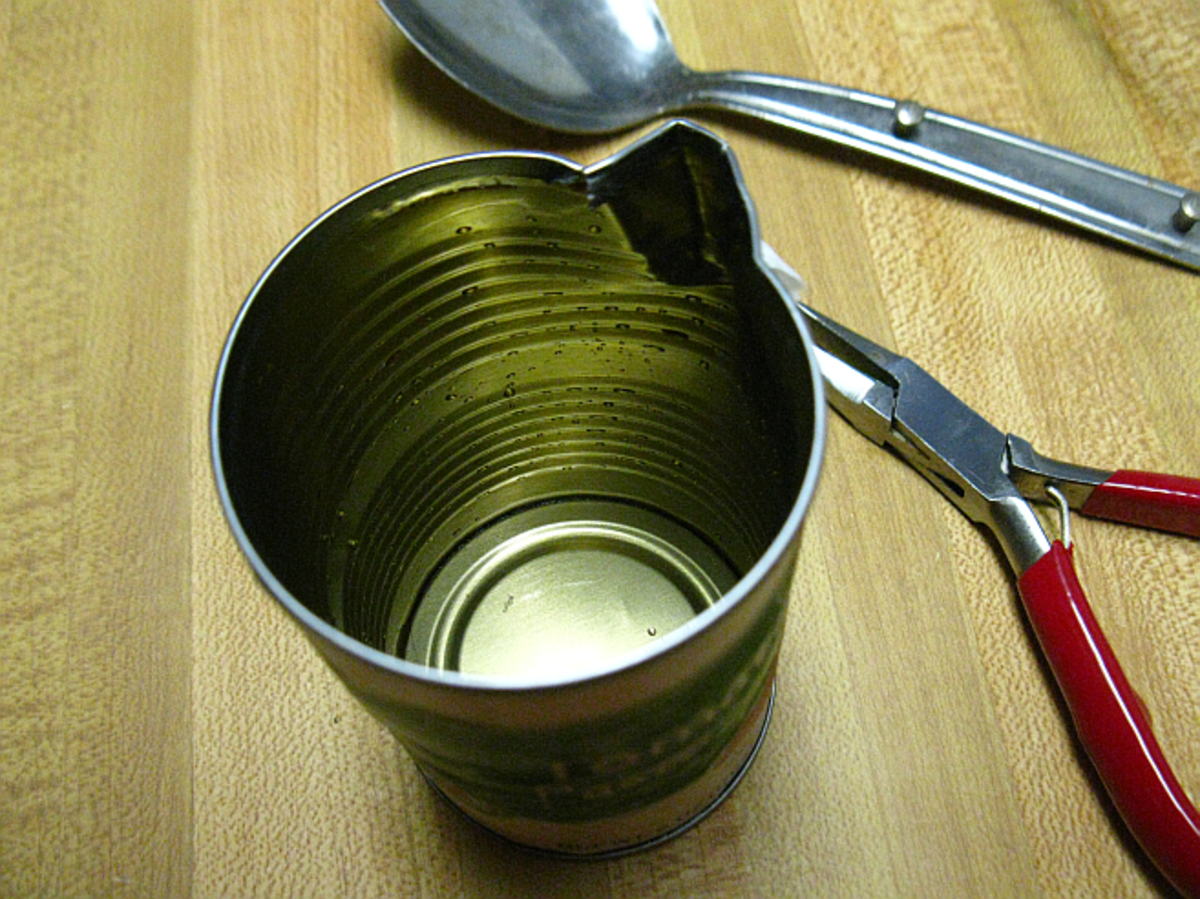 tin can to melt the wax with pour spout