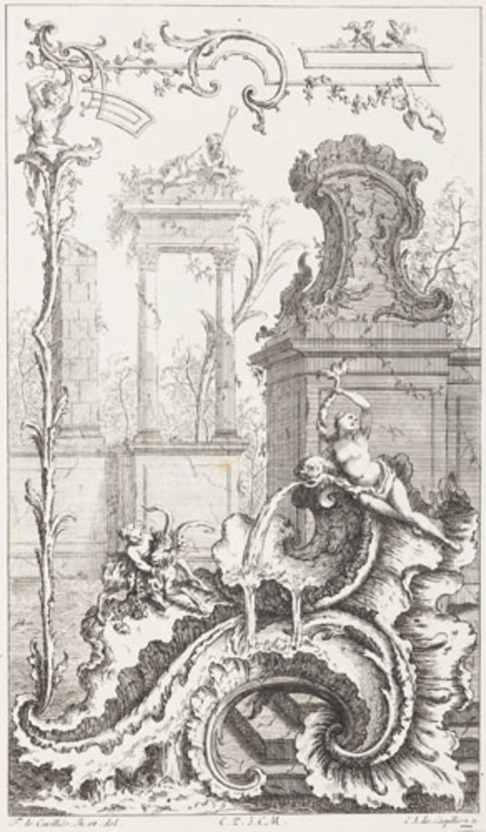 Rococo cartouche designed by Cuvilliés and engraved by Charles-Albert De Lespilliez