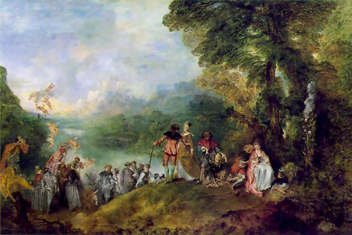 Pilgrimage to Cythera, Jean-Antoine Watteau. This Rococo era painting is expressive of the playfulness and sensuality of the period.