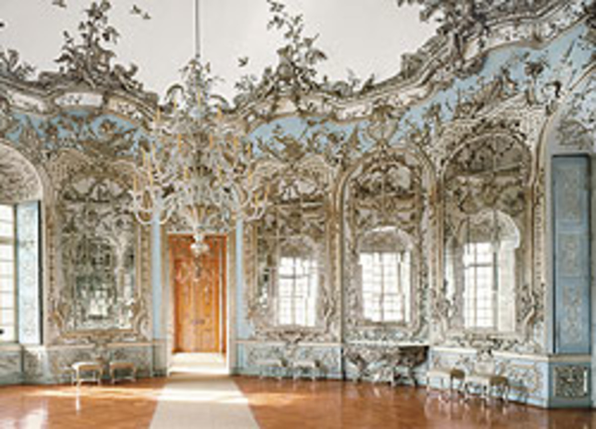 Hall of Mirrors in the Amalienburg Pavilion at Nymphenburg Palace in Munich designed by Francois de Cuvilliés the Elder in the 1730s.