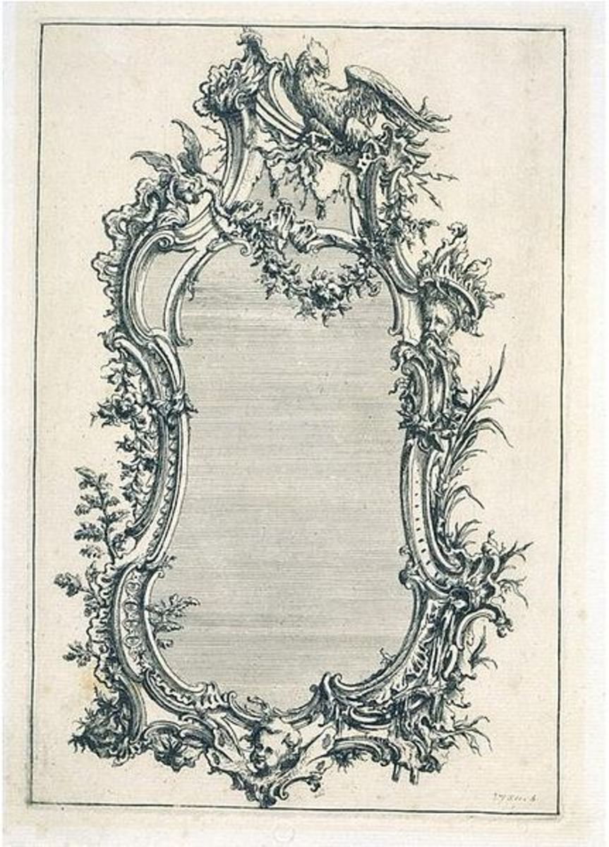 Etching, Mattias Lock, from Six Sconces published 1744. Depicts Rococo design for pier glass.