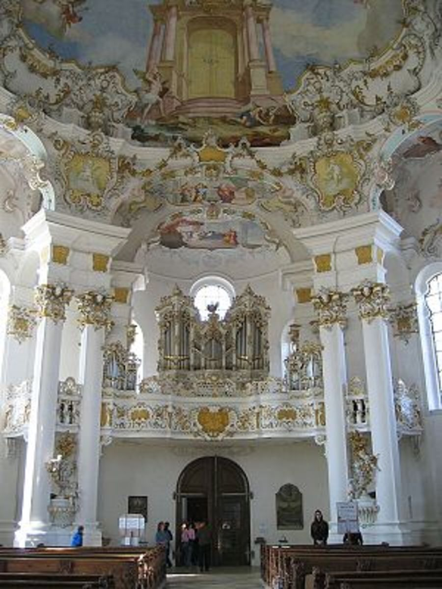 Pilgrimage Church of Die Weis in Bavaria, Germany, designed by Dominikus Zimmerman in Rococo style.