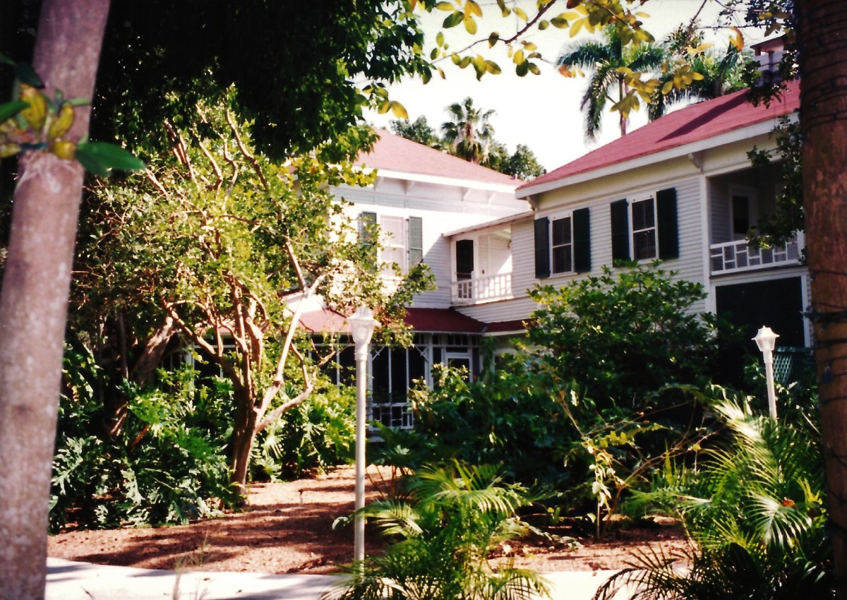 View of Edison home and partial view of guest house