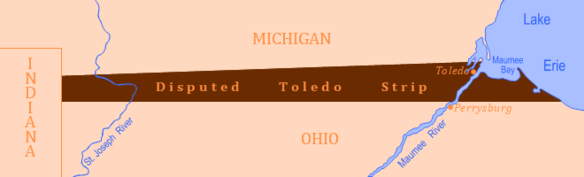 The Toledo Strip: 80 miles by 6 miles or 470 Square Miles.