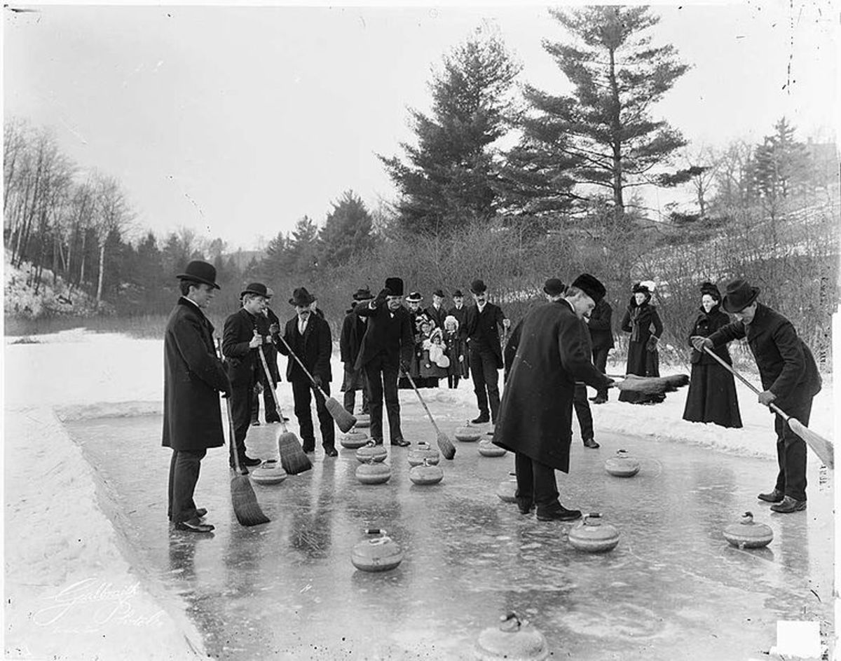 William Rennie family curling party, Swansea/ Toronto, Ontario.