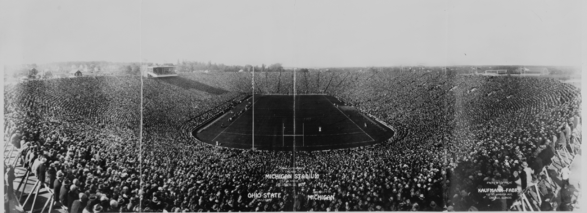 Formal opening of the new Michigan Stadium in Ann Arbor on 10/22/1927 with Ohio State University vs. University of Michigan. Now we fight over football and have competing blood drives before the annual game!
