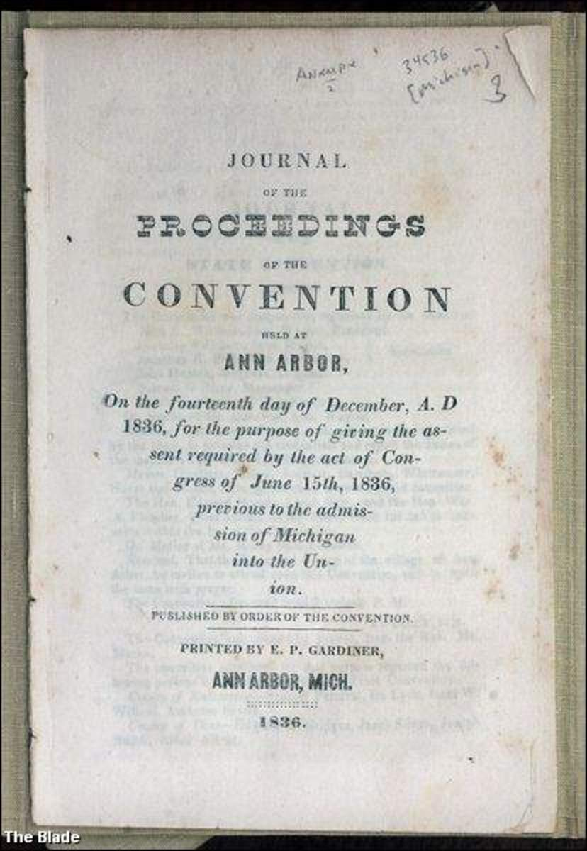 1836 proceedings of the Michigan Territorial Convention, called the Frost-Bitten Convention. Michigan was compelled to accept the terms dictated by Ohio in giving up the Toledo Strip.