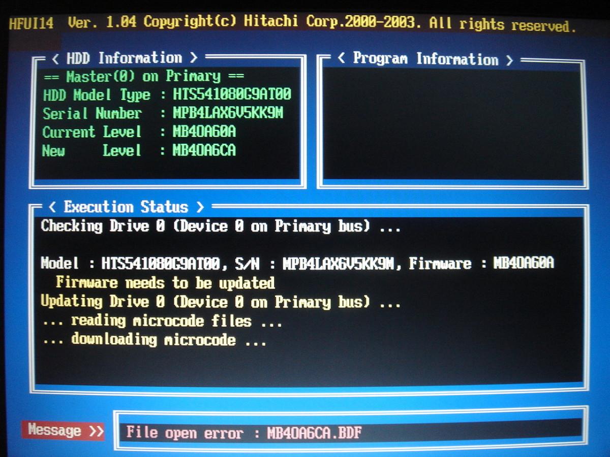 """Error from the command """"hfui1404 OA6CA -pm MB4IA6CA.bdr /s /f mpbA6CAb.tbl """""""