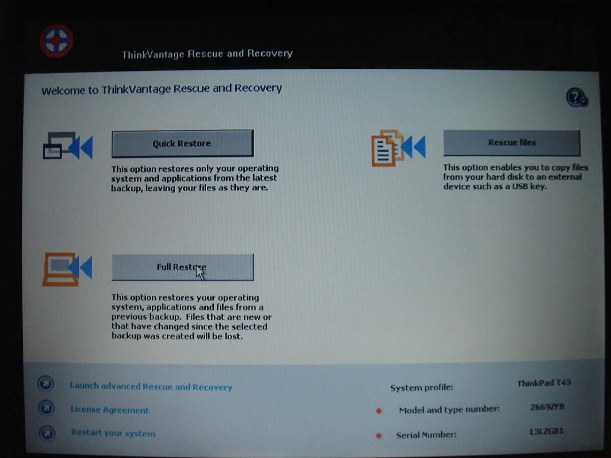 """Access IBM"" key at boot up goes to the recovery screen."