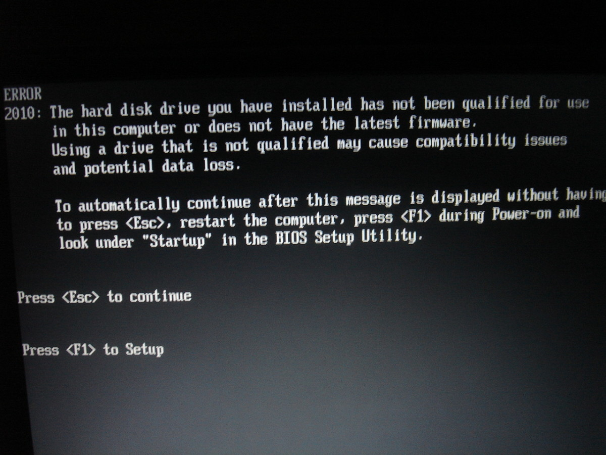 Error message for hard drive not supported by T43