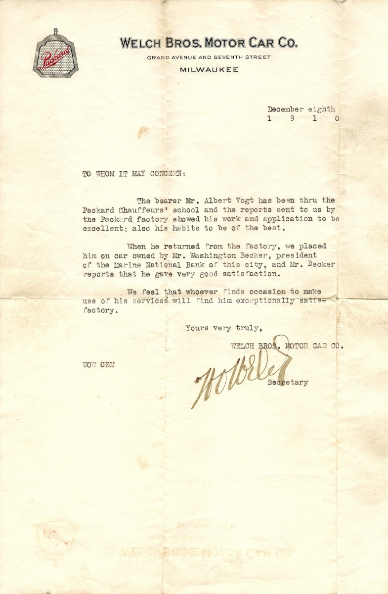 Welch Bros. Motor Car Co. letter of reference dated December 8, 1910