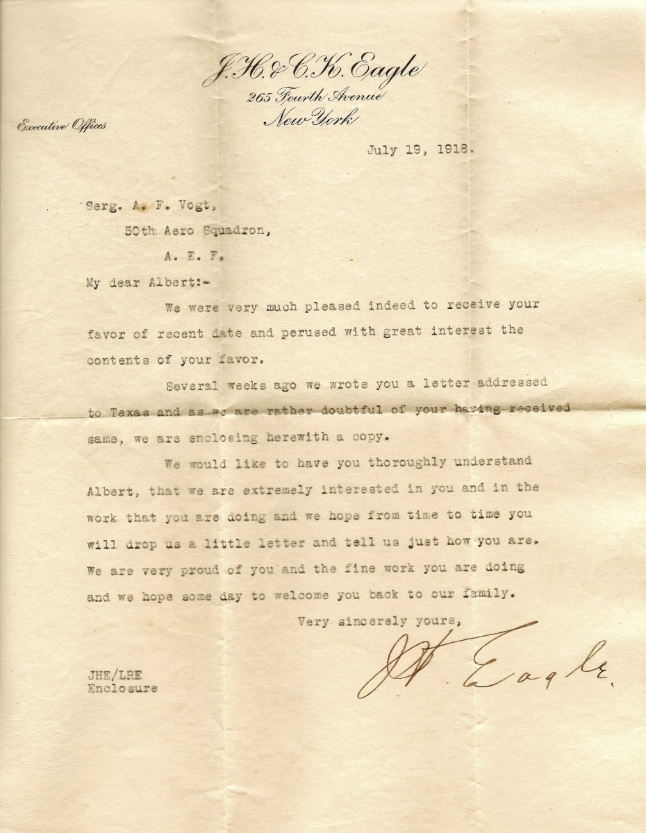 Letter from Mr. J.H. Eagle to my grandfather in the 50th Aero Squadron during WW1