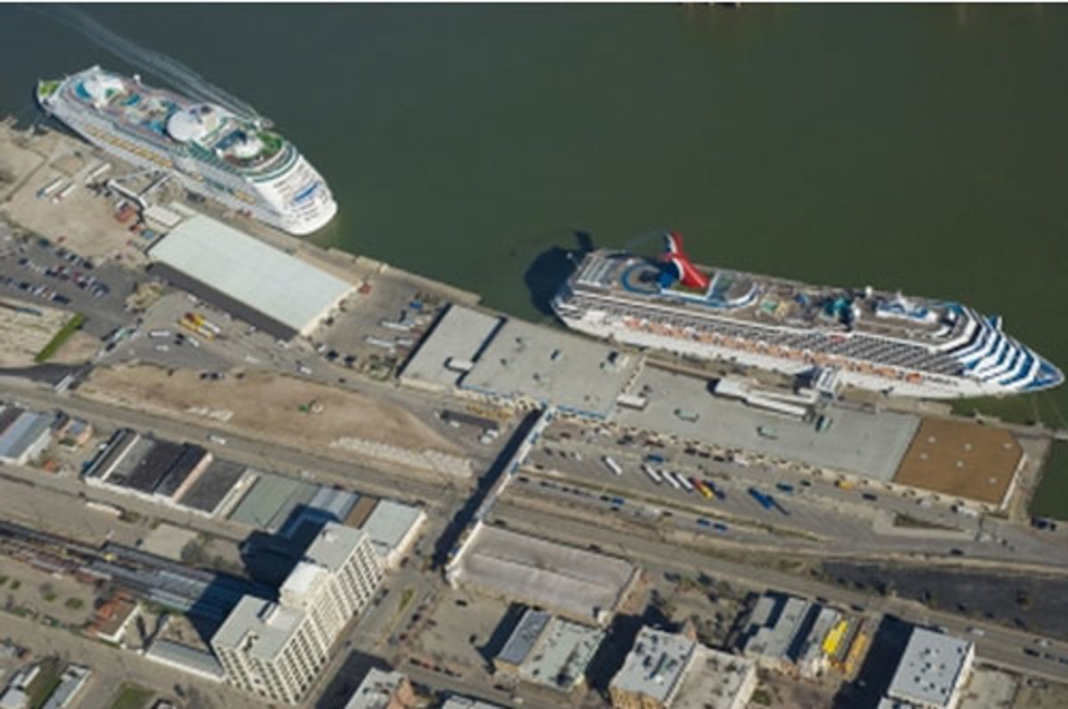 Aerial view of Galveston's cruise terminals