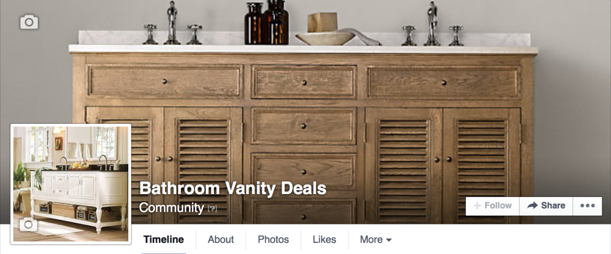 Follow me on Facebook for more bathroom vanity ideas, coupons and sales.