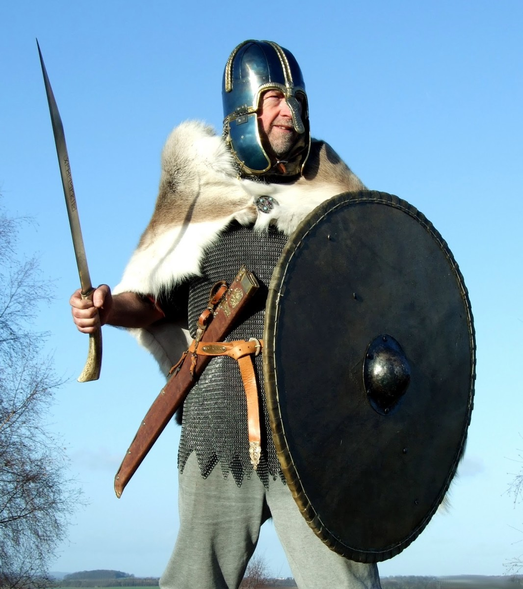 Mercian thegn in war gear - the helm shape is similar to one found at Coppergate, York