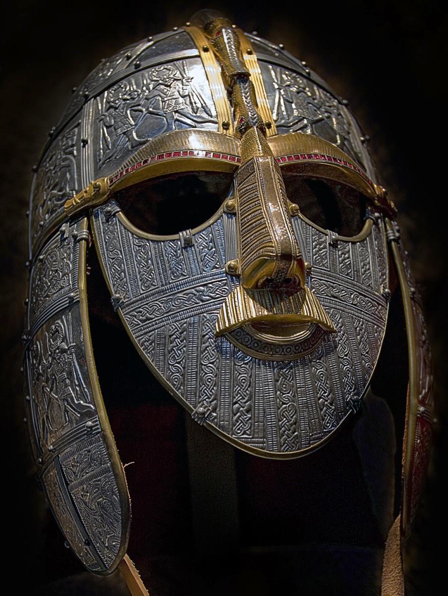 The reconstructed Sutton Hoo parade helm that may have been worn by King Raedwald of the East Aengle