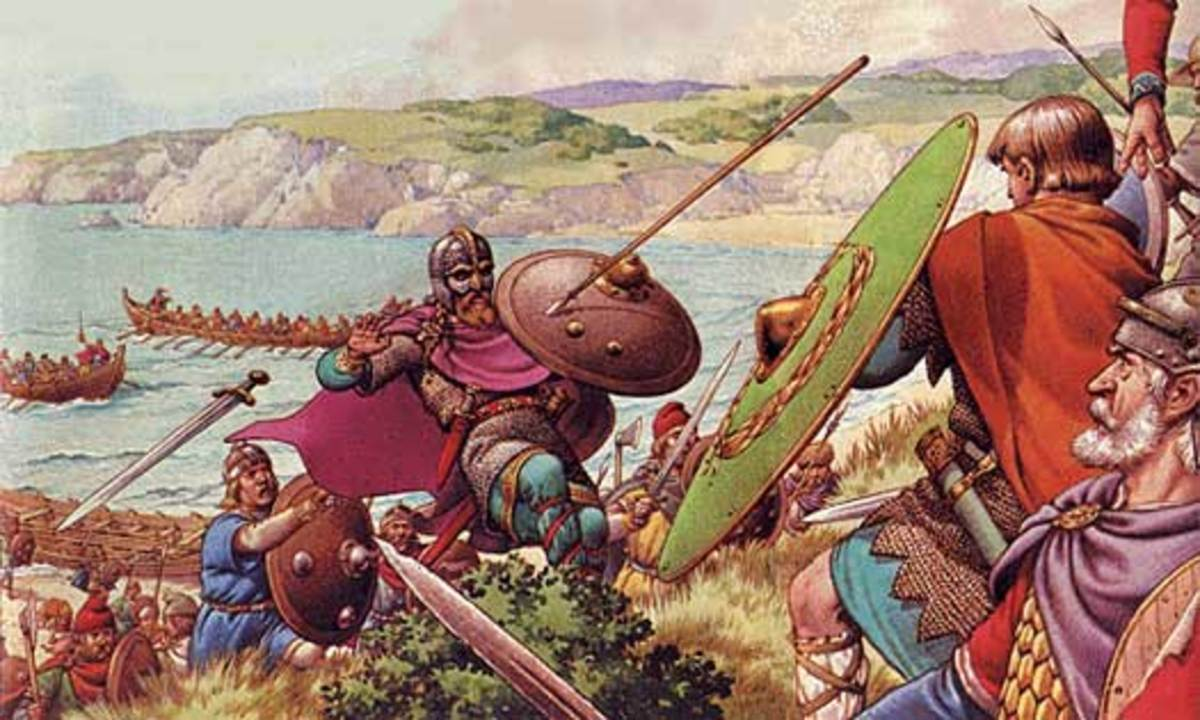 Aelle of the South Saxons directing his men against the invading West Saxons under...