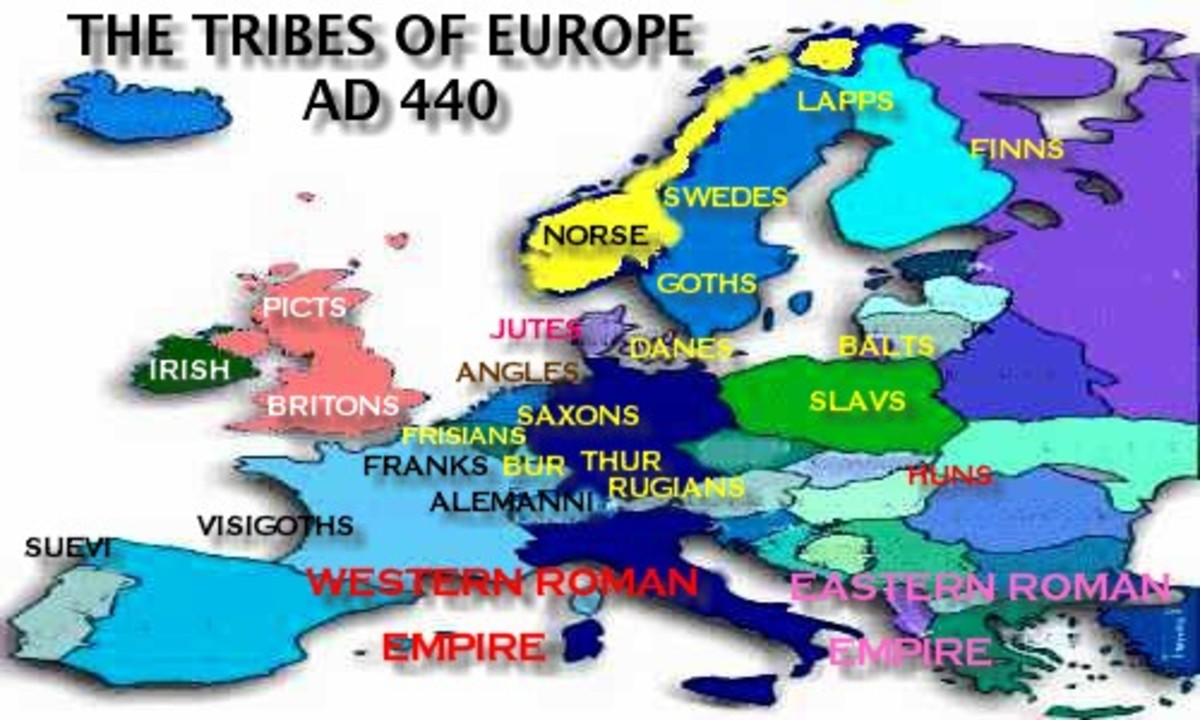 Fifth Century distribution of post-Roman Empire tribes in Europe