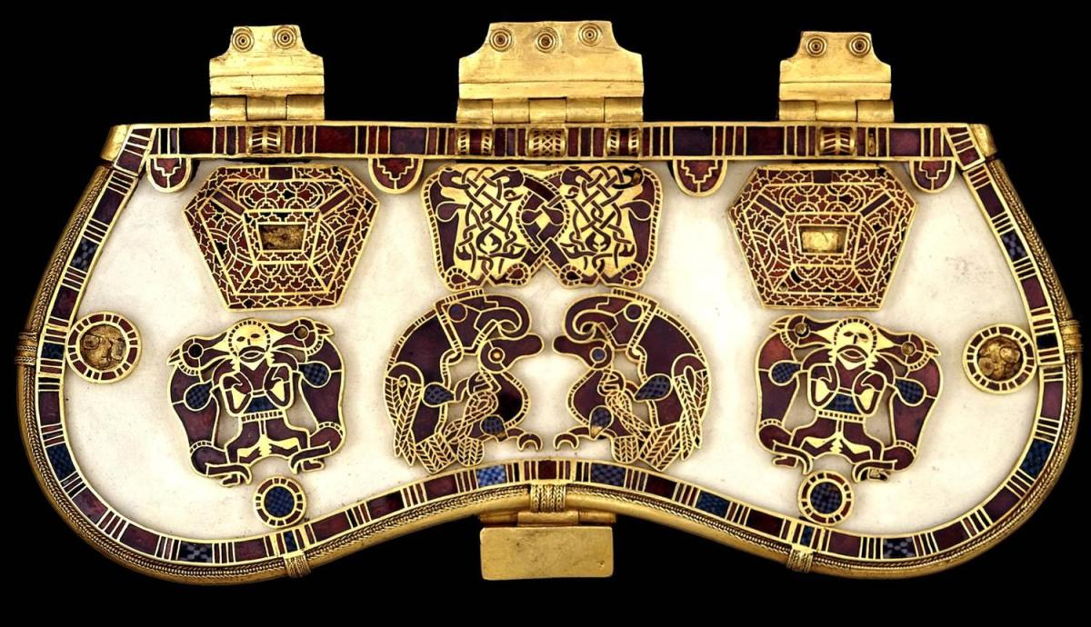 Reconstructed purse cover from Sutton Hoo - the archaeological discovery was made in the summer before WWII began
