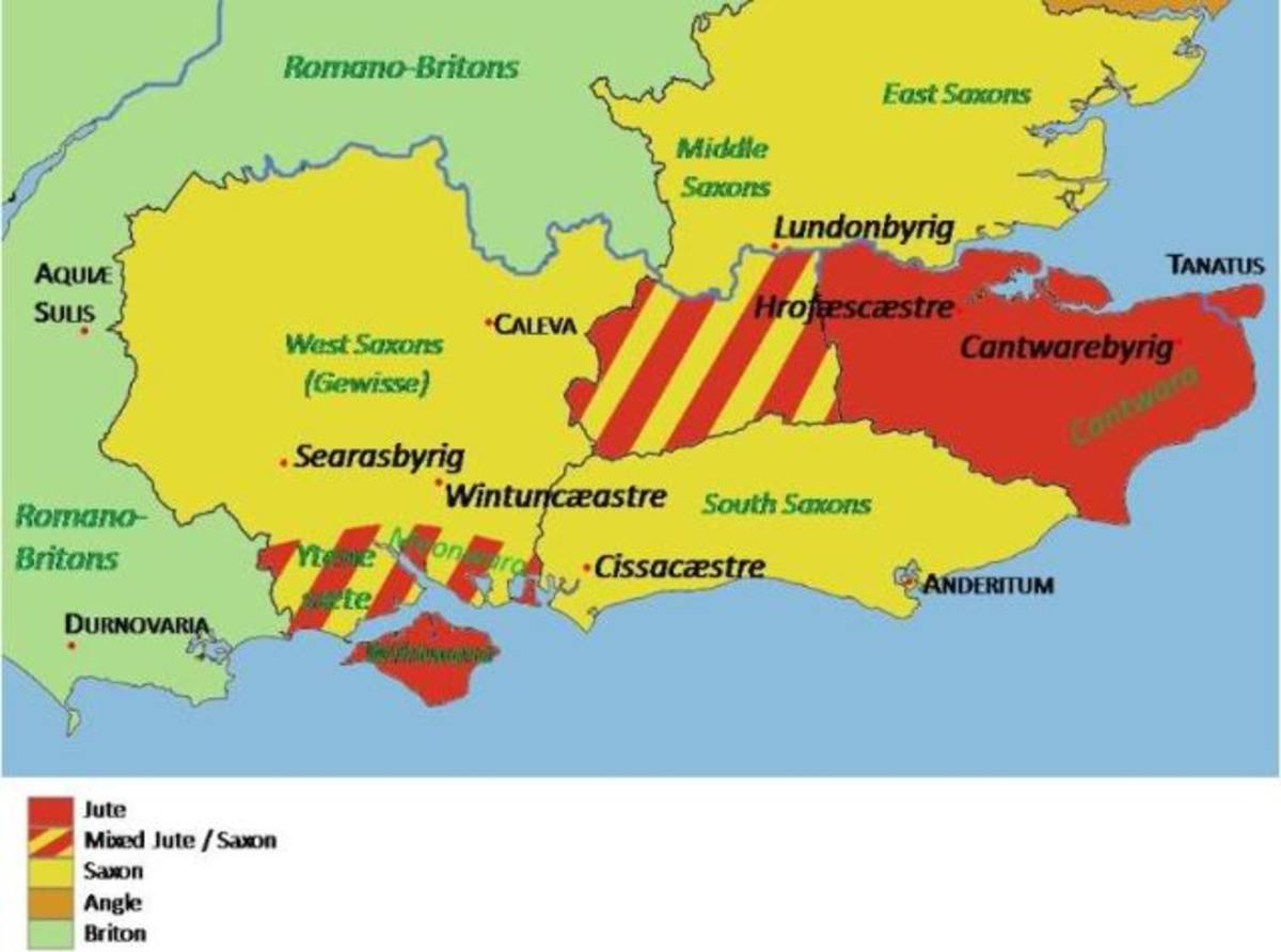 Early settlement by the Jutes in Kent and Wight (red) with their  near neighbours the Angles, Mercians and Saxons