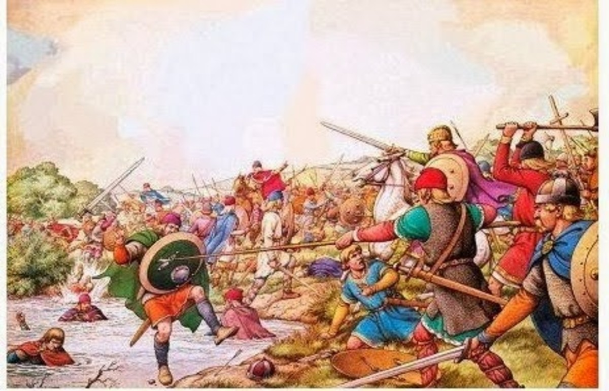 The Battle of the Winwaed (near modern-day Leeds) in which Oswy defeated Penda - his brother's killer - and his Mercians weighed down by the treasures he had used to buy off Penda in Bernicia