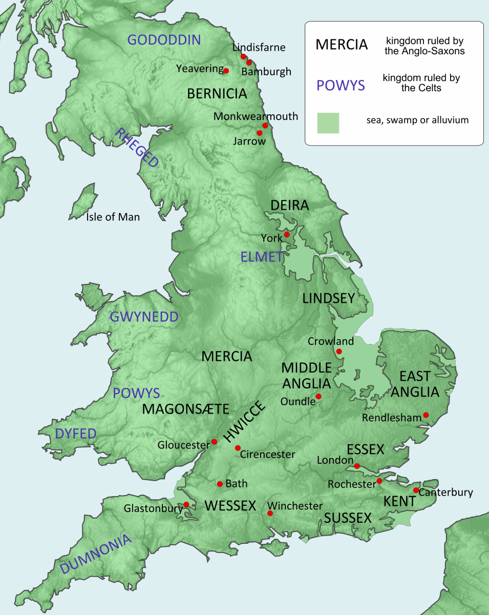 Physical map of Britain showing habitable areas and population distribution