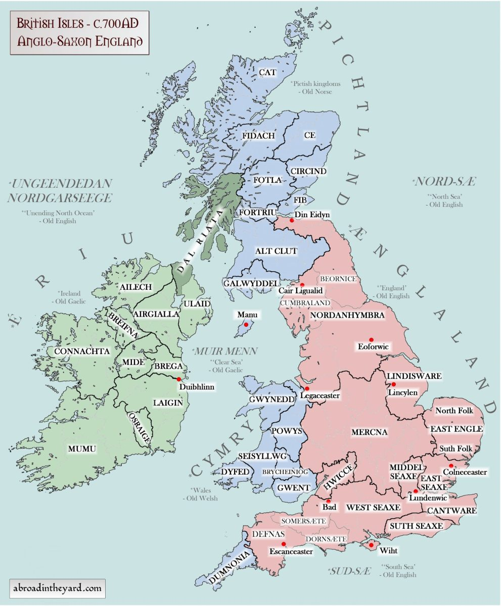 Ethnographic distribution, migrants from across the sea to the east in pink, Britons in blue, Gaels in green and tribal references (e.g.:Northanhymbra, East Aengle)